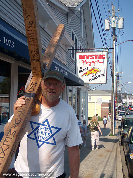 Tom in front of Mystic Pizza