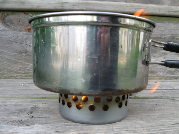 A tuna can stove in action