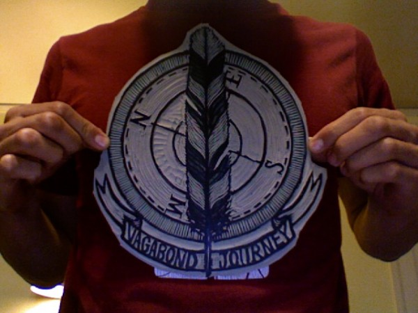 Carved woodblock print for t-shirt