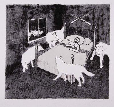 Wolves woodblock print by Justin Catania