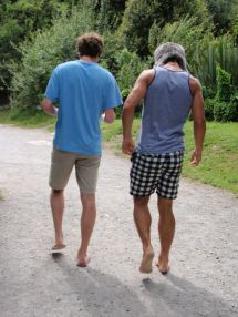 Boys Walking Barefoot
