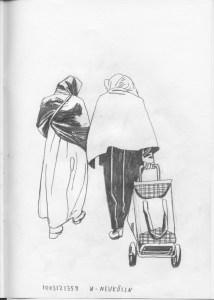 «Jag sade: 'Jag är en frånskild invandrarkvinna med barn.' Publiken skrat-  tade. Inte Mustafa. Inte jag.» Illustrasjon: Andreas Töpfer.