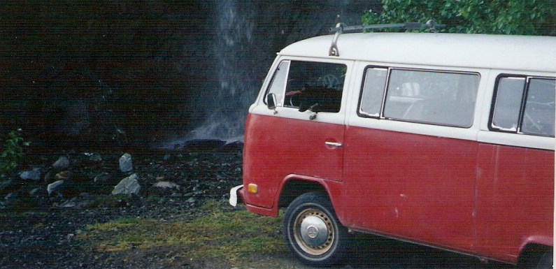 VW Bus near Alaska Waterfall – Have You Been Here?