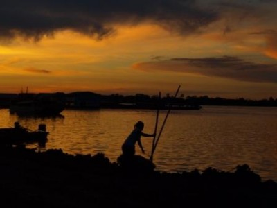 fishing in Peru sunset