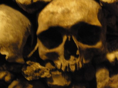 a skull in the Paris Catacombs