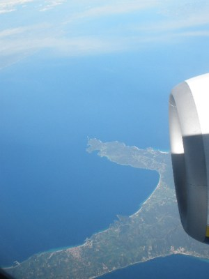 Looking down at Greece