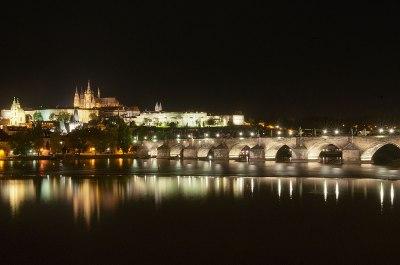 Prague Castle and the Charles Bridge at night, Prague, Czech Republic