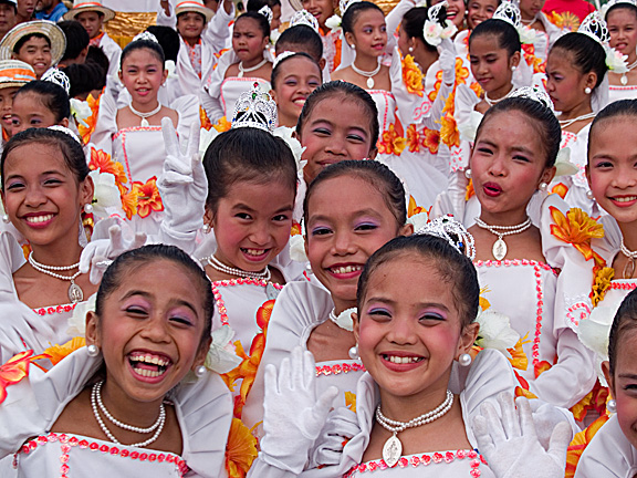 Costumed girls at Sinulog, the country's biggest festival, in Cebu