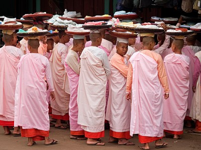 Nuns on their morning alms run in Bagan