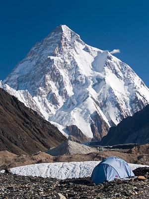 A lone tent sits under K2, world's second highest mountain, in the Concordia region of the Himalayas
