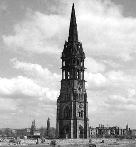 Tower of the Johanneskirche in Dresden, Germany after the devastating Allied raids