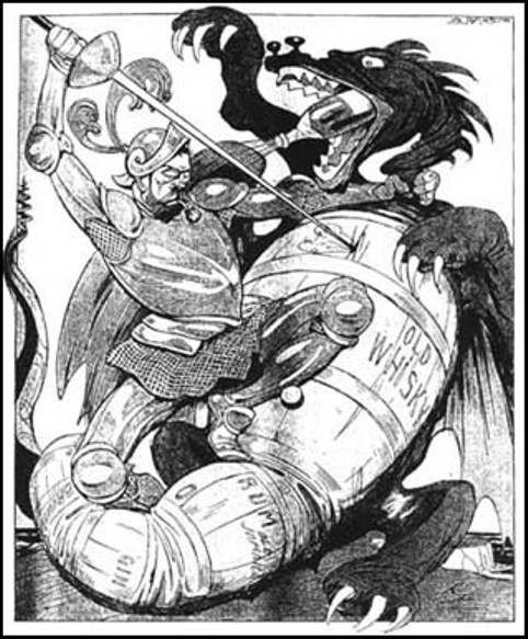 Cartoon against drink by Arthur Johnson in German-language publication Kladderadatsche (1914)