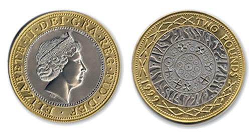 The front and reverse designs for the British £2 coin (standard version)