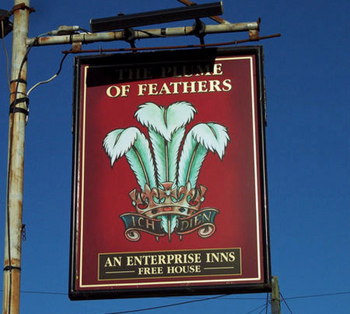 The Plume of Feathers Sign_-_geograph.org.uk_-_328231 by Trish Steel [CC-BY-SA-2.0 (http://creativecommons.org/licenses/by-sa/2.0)], via Wikimedia Commons