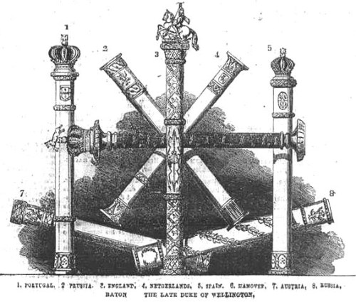 The Duke of Wellington's batons, showing the honorary commands he was given over allied armies