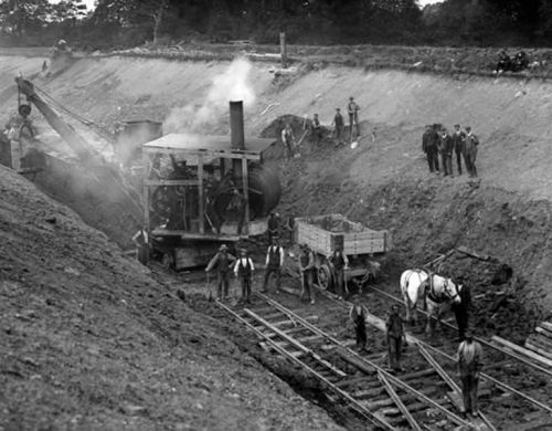 Steam power and railway navvies By National Library of Ireland on The Commons (Steam power  Uploaded by russavia) [see page for license], via Wikimedia Commons