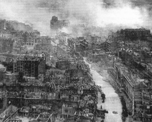 The smoking ruins of a captured city - Kiev in the aftermath of the German assault - See page for author [Public domain], via Wikimedia Commons