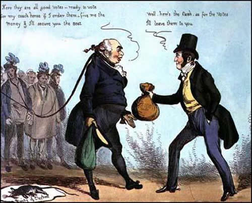 Buying votes at a rotten borough - a cartoon from the golden age of political satire