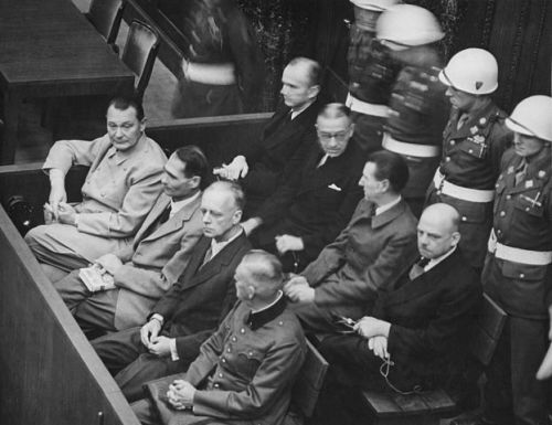 The defendants at the Nuremberg Trials (in front row, from left to right): Hermann Göring, Rudolf Heß, Joachim von Ribbentrop, Wilhelm Keitel, (in second row, from left to right): Karl Dönitz, Erich Raeder, Baldur von Schirach, Fritz Sauckel
