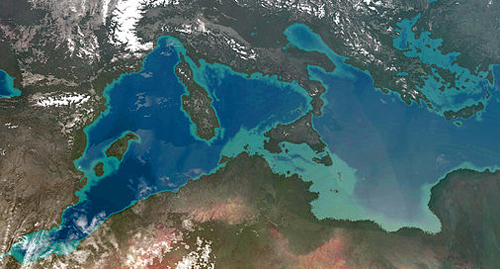 The Mediterranean and surrounding land - lighter green sea could have been reclaimed under Project Panropa