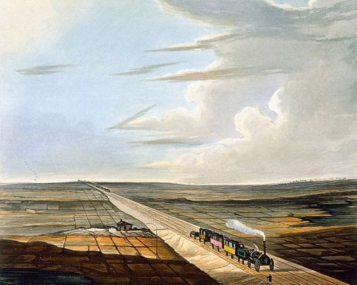 View of the Railway across Chat Moss. Drawn by Thomas Talbot Bury. Engraved by H. Pyall. Published by R. Ackermann and Company, February 1833