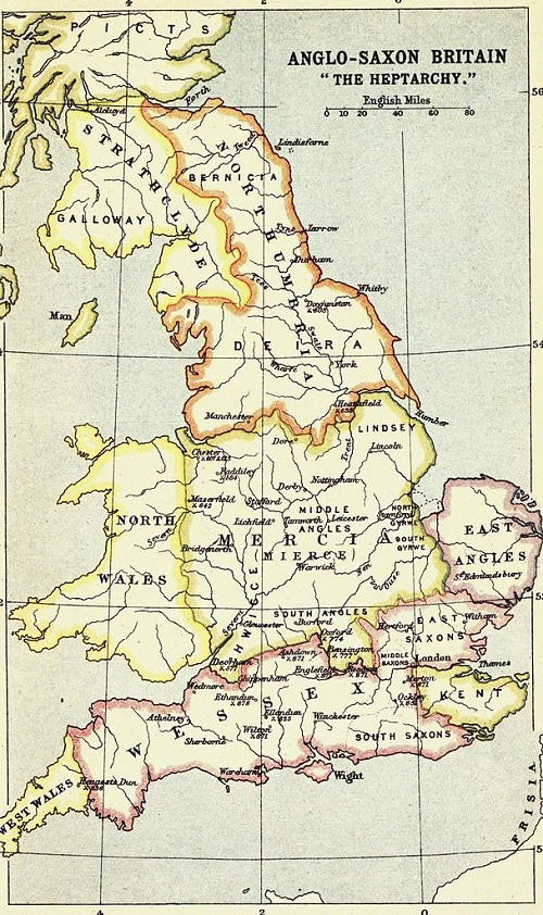 A map of the kingdoms of the Anglo-Saxon Heptarchy - note that the Heptarchy was never as neat or stable as this map would suggest By Bartholomew, J. G. (John George), 1860-1920 [Public domain], via Wikimedia Commons