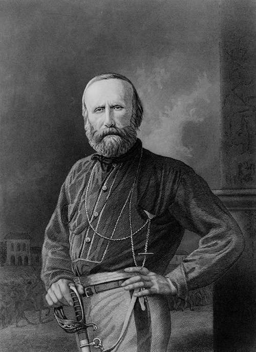 Giuseppe Garibaldi (1808-1882), half-length portrait, posed to the left, face front, holding sword. By Duyckinick, Evert A. Portrait Gallery of Eminent Men and Women in Europe and America. New York : Johnson, Fry & Co., 1869. (Library of Congress) [Public domain], via Wikimedia Commons