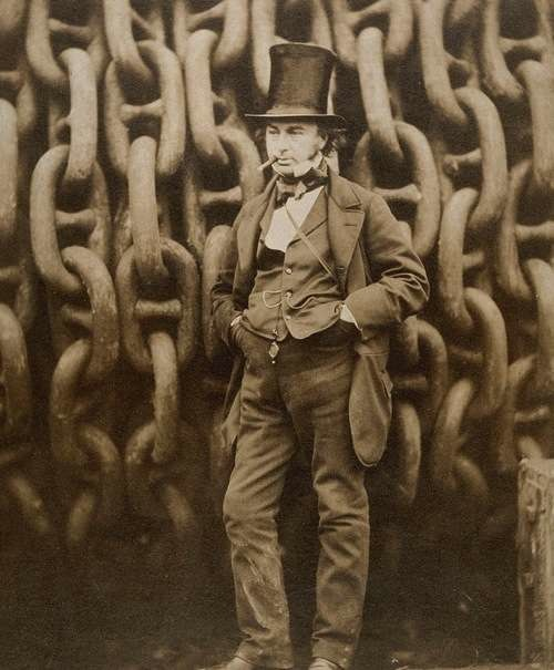 Isambard Kingdom Brunel against the launching chains of the Great Eastern at Millwall in 1857, photo by Robert Howlett (1831–1858).