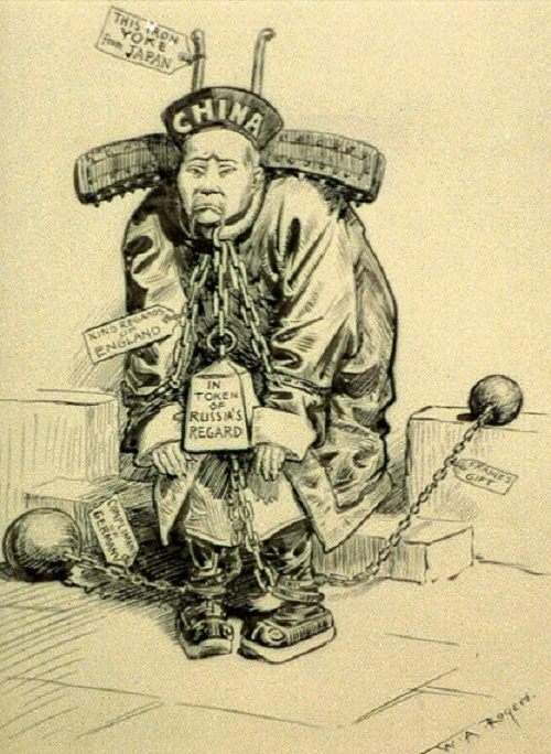 "Cartoon of Chinese Imperialism After Opium War. This illustration is a commentary on the state of China during the Age of Imperialism. Cartoon reads: Chinese man, ""China,"" wearing yoke and ball and chain with tags: ""This iron yoke from Japan,"" ""Kind regards of England,"" ""In token of Russia's regard,"" ""Compliments of Germany,"" and ""France's gift."" ""At peace with all the world, compliments of [...]"