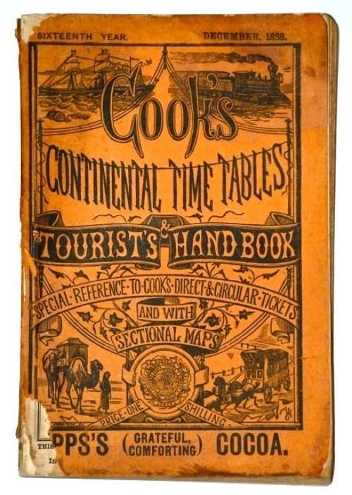 Cover of the December 1888 edition of Cook's Continental Time Tables & Tourist's Handbook.