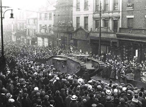 WW1 Tank 'Egbert' Fishergate, Preston, January 1918