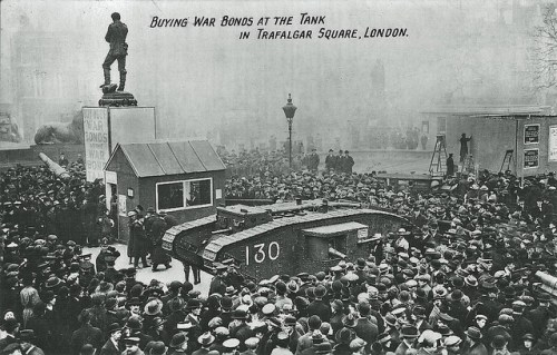 The Trafalgar Square tank bank is attended by huge crowds