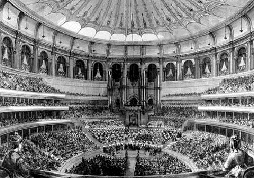 Royal Albert Hall _Grand_Opening_by_Queen_Victoria_29_March_1871_The_Graphic - as it would have looked for Salisbury's speech 20 years later