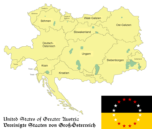 United States of Greater Austria based on map By rdb, PANONIAN.Rdb at de.wikipedia [GFDL (http://www.gnu.org/copyleft/fdl.html) or CC-BY-SA-3.0 (http://creativecommons.org/licenses/by-sa/3.0/)], from Wikimedia Commons