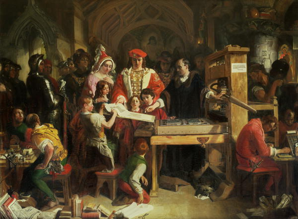 Caxton Showing the First Specimen of His Printing to King Edward IV at the Almonry, Westminster: With Edward are his wife, Elizabeth Woodville, and their children, Elizabeth, Edward, and Richard.