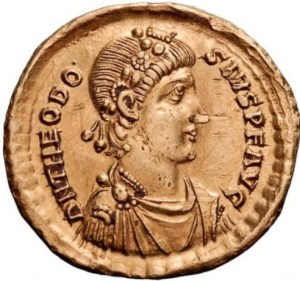 Coin bearing the image of Emperor Theodosius By Rasiel (http://en.wikipedia.org/wiki/File:Theod1.jpg) [GFDL (http://www.gnu.org/copyleft/fdl.html) or CC-BY-SA-3.0 (http://creativecommons.org/licenses/by-sa/3.0/)], via Wikimedia Commons