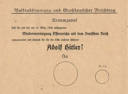Ballot used for Austrian referendum, 1938 See page for author [Public domain], via Wikimedia Commons