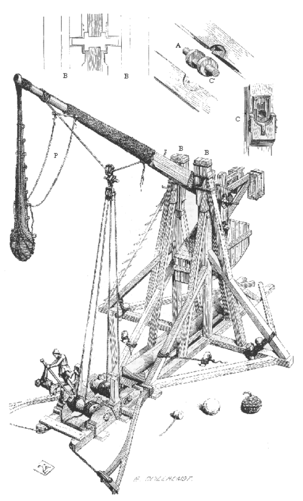 19th Century diagram of a medieval trebuchet
