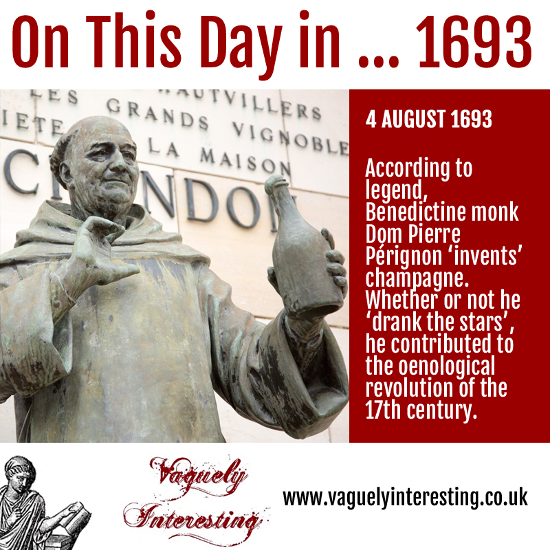 On this day 04 08 1693 Invention of champagne