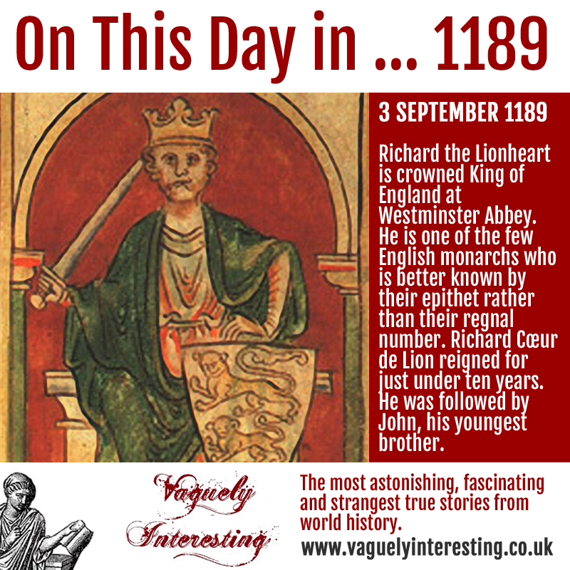 03 09 1896 On this day Richard I coronation