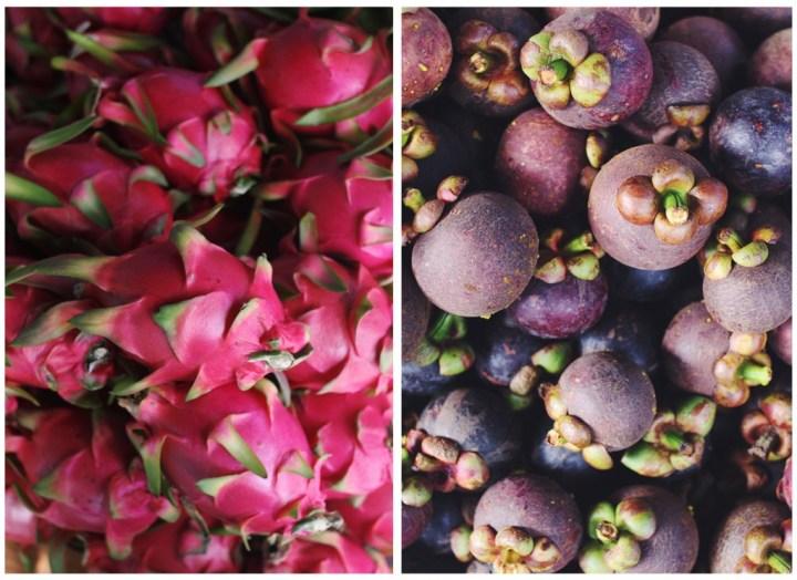 dragon fruit (esquerda) e mangostão (direita) são frutas muito populares na Tailândia