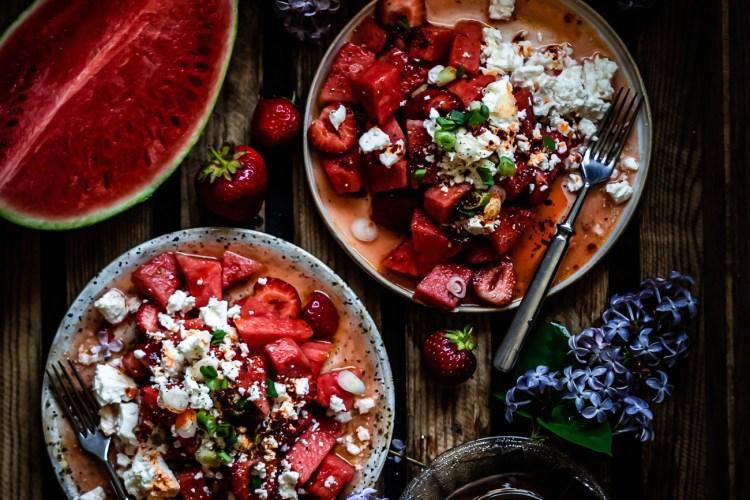 Vesimeloni, feta ja chiliöljy on ihana yhdistelmä!