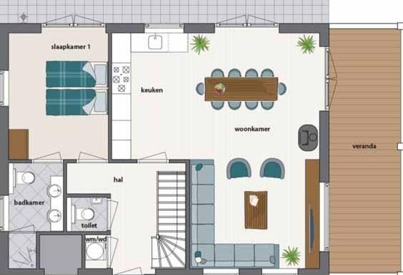 10-persoons Vakantiehuis in Noordwijk - de Gouden Spar Plattegrond begane grond