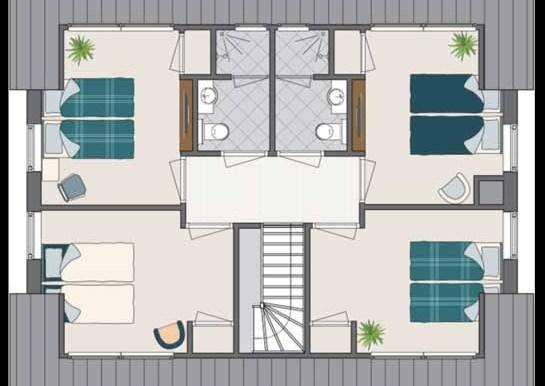 10-persoons Vakantiehuis in Noordwijk - de Gouden Spar Plattegrond boven
