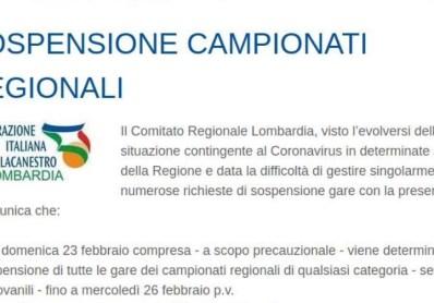 SOSPENSIONE CAMPIONATI REGIONALI – FIP LOMBARDIA