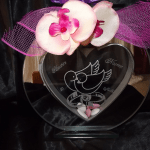 vase en verre miroir coeur gravure mariage