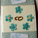 carte félicitation mariage anneau fleurs bleu ciel
