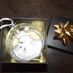 boule en verre ange gravure noel mariage naissance baptème communion et sa boite cadeau (en supplément)