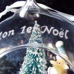 boule de noel renne gravure sur verre mon 1er noel