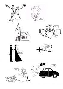 M3: motifs gravure sur verre mariage